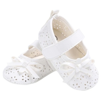 Baby Girl Flat Shoes PU Hollow Newborn Infant Girls AntiskidPrincess Shoes(White)-13CM - intl - 3