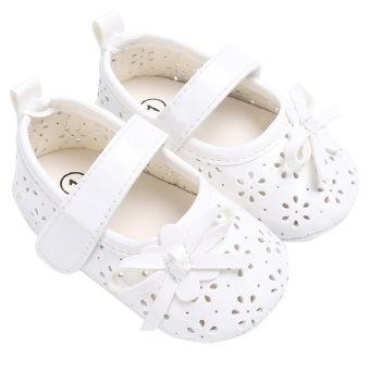 Baby Girl Flat Shoes PU Hollow Newborn Infant Girls AntiskidPrincess Shoes(White)-13CM - intl