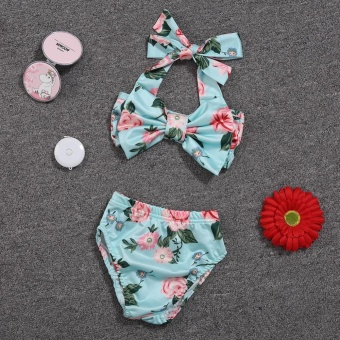 Baby Girl Floral Bow Halter Bikini Set Two Piece Swimsuit Size:6-12M - intl