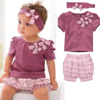 Baby Girl Kids Clothes Newborn headband +Top+Shorts Outfit - intl