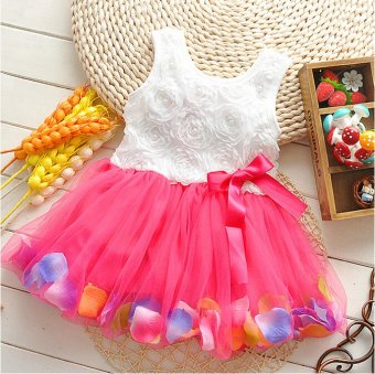 Baby Girl Summer Fashion Flower Dress (Red) - 2