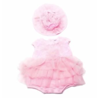 Baby Girl Tutu Dress with Hat (Pink) for 3 Months Old