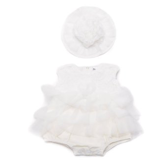 Baby Girl Tutu Dress with Hat (White)