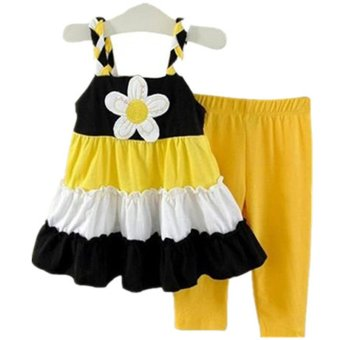 Baby Girls Clothing suit Fashion 2PCS Sunflower Sling Dress+Pants2-4Y(yellow)