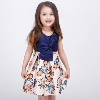 Baby girls fashion summer Floral print dresses girls dresses Festaflower children princess dress - 2