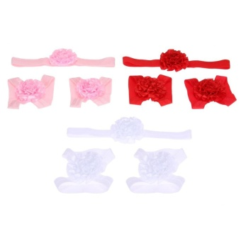 Baby Girls Foot Flower Barefoot Chain + Headbands(3 Colors) Set -intl Price Philippines