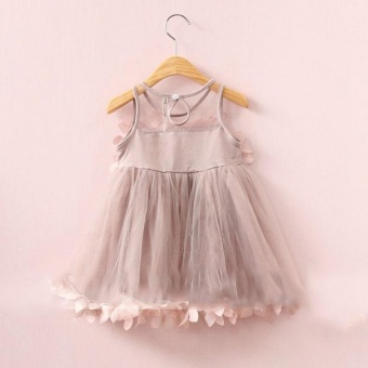 Baby Girls Lace Tulle Petals Gown Dress Sundress SleevelessPrincess Dresses - intl