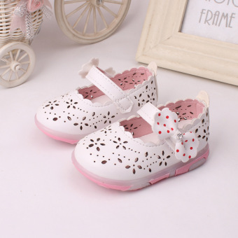 Baby girls Sandals Toddler First Walker Shoes PU Leather Soft-soled Heelpiece Flashing light ( white) - Intl