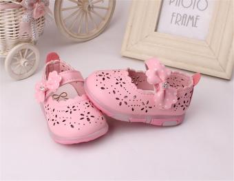 Baby girls Sandals Toddler First Walker Shoes PU Leather Soft-soledHeelpiece Flashing light ( pink) - Intl - 2