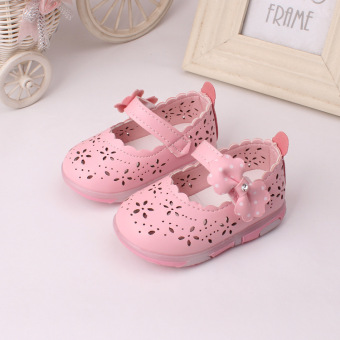 Baby girls Sandals Toddler First Walker Shoes PU Leather Soft-soledHeelpiece Flashing light ( pink) - Intl