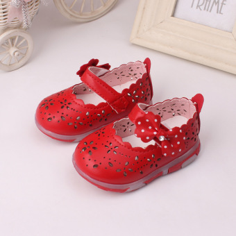 Baby girls Sandals Toddler First Walker Shoes PU Leather Soft-soledHeelpiece Flashing light ( red) - Intl