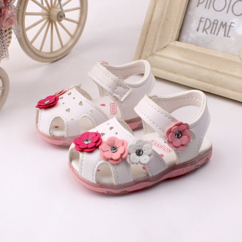 Baby girls Sandals Toddler First Walker Shoes Soft-soled Heelpiece Flashing light (white) - Intl