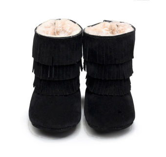 Baby Girls Tassel Soft Sole Winter Warm Cotton Snow Boots Shoes(Black) - Intl
