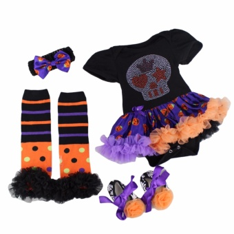 Baby Halloween Costume Set Children Halloween Witch Pumpkin Costume Infant Bodysuit Skull Tutu Dress Set Girls Birthday Costume Cosplay