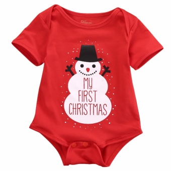 Baby Kids Boys Girl Clothes Snowman Bodysuit Jumpsuit Outfits -intl