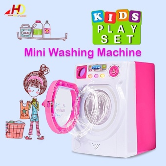 Baby Kids Mini Simulation Appliance Washing Machine EducationalPretend Play Housekeeping Toy Gift (Pink)
