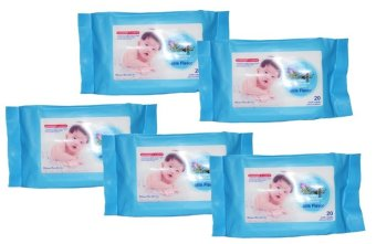 Baby Kingdom Baby Wipes 20's Milk Scent Moisturizes and ProtectsPack of 5