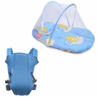 Baby Mosquito Net Bed (Blue) with Adjustable Straps Baby Carriers (Light Blue)