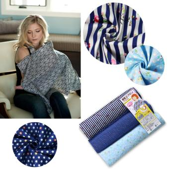 Baby Mum Breastfeeding Nursing Poncho Cover Cotton Blanket ShawlsBlue stars - intl