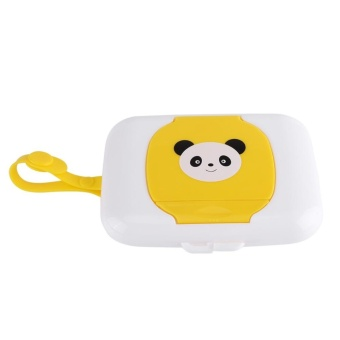 Baby Outdoor Travel Stroller Wet Wipes Box Tissue CaseWhite&Yellow - intl