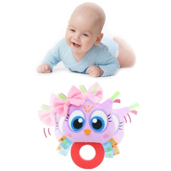 Baby Rattle Hand Bell Toys Plush Owl Elephant Monkey Lion RattleDolls Gifts for Infants Color:Purple - intl - 2