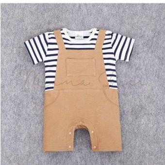 Baby Romper Pajama Toddler Bodysuit Infant Jumpsuit Kids One PieceBabysuit Stripes Brown