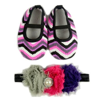 Baby Shoes and Headband in Set (Multicolor)