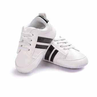 Baby Shoes Soft Bottom Anti-skid PU Leather Shoe For Infant ToddlerBoys Girls(S,White & Black stripes) - intl