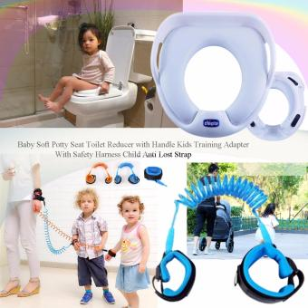 Baby soft potty seat toilet reducer with handle kids trainingadapter children Chicco toilet training seat (White) with SafetyHarness Child Anti Lost Strap (Blue)