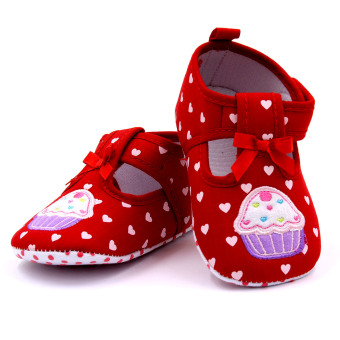 Baby Step Cupcake Hearts Baby Girl Shoes (Red) - 3