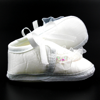 Baby Steps Ashley Christening Baby Girl Shoes (White) - 2