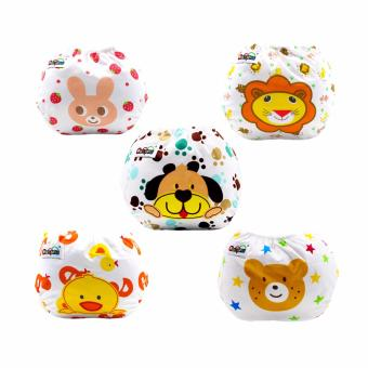 Baby Steps Baby Animal Printed Cloth Diaper Set of 5 (Multicolor)