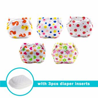 Baby Steps Baby Girl Pattern Printed Cloth Diaper Set of 5(Multicolor) with 3 pcs Cloth Diaper Inserts