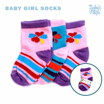 Baby Steps Baby Girl Socks Set of 3 (Multicolor)