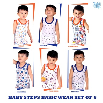 Baby Steps Basic Wear Baby Boy Terno Large Clothing Set of 6(Blue/Orange)