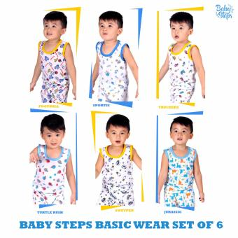 Baby Steps Basic Wear Baby Boy Terno Large Clothing Set of 6(Yellow/ Blue)