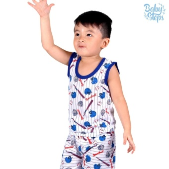 Baby Steps Basic Wear Baseball Baby Boy Terno Clothing Sets (Blue)