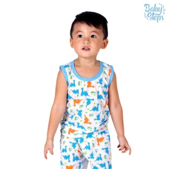 Baby Steps Basic Wear Jurassic Baby Boy Terno Clothing Sets (LightBlue)
