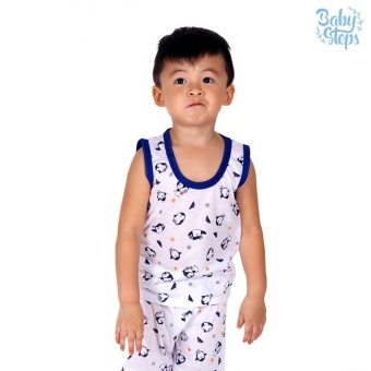 Baby Steps Basic Wear Penguin Baby Boy Terno Clothing Sets (Blue)