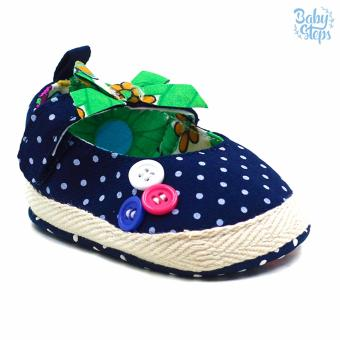 Baby Steps Buttons Ribbon Baby Girl Shoes (Navy Blue)