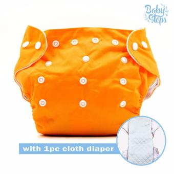BABY STEPS Cloth Baby Diapers (Orange) with with 1pc Diaper Insert