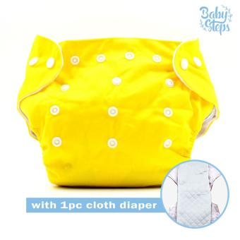 BABY STEPS Cloth Baby Diapers (Yellow) with with 1pc Diaper Insert