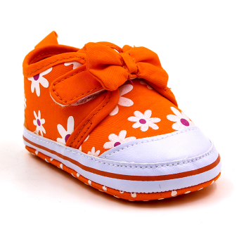Baby Steps Floral Ribbon Baby Girl Shoes (Orange)
