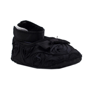 BABY STEPS Flossy Ribbon Baby Girl Shoes (Black)