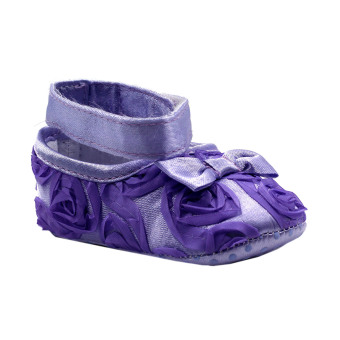 BABY STEPS Flossy Ribbon Baby Girl Shoes (Purple)