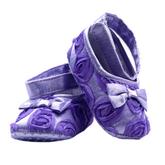 BABY STEPS Flossy Ribbon Baby Girl Shoes (Purple) - 3