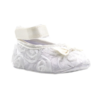 BABY STEPS Flossy Ribbon Baby Girl Shoes (White)