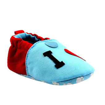 BABY STEPS IloveDad Baby Cotton Shoes (Blue/Red) - 2