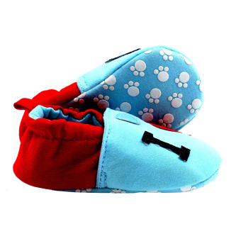 BABY STEPS IloveDad Baby Cotton Shoes (Blue/Red) - 3