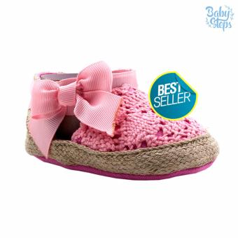 BABY STEPS Knitted Ribbon Baby Girl Shoes (Pink)